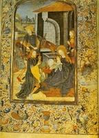 Códice. Burgos 1494. Miniatura con la Adoración de los Magos.