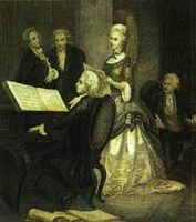 W. A. Mozart al piano. Acompaña a la cantante Caterina Cavallieri.
