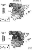 Comparativa de votaciones al PP en España por provincias (1993-1996).