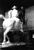 Venacio Blanco en su taller.
