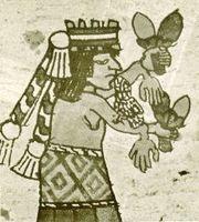 El gran sacerdote después de sacrificar a una joven a la diosa del maíz.