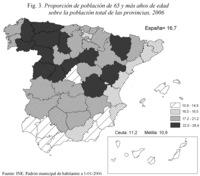 Proporción de la población de 65 años de edad sobre la población total de las provincias, 2006.