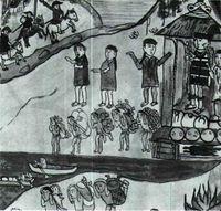 Tres españoles llegan a un poblado indio. Relación de Michoacán (1541).