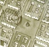 Plano de una ciudad colonial.