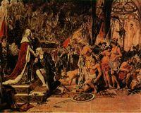 Los Reyes Católicos reciben a Colón junto a los indios de Guahananí en Barcelona.