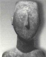 Figurín de las islas Cicladas (detalle), alrededor de 2700-2500 a. C. Fundación Nicholas <br /><br /> P. Goulandns - Museo de Arte<br /><br /> Cicládico (Atenas).