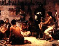 """Edwin Long, """"Los dioses y sus fabricantes"""" (1878)."""