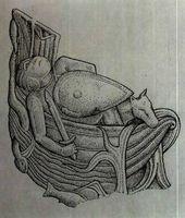 """Detalle de una de las columnas procedentes de la Puerta de Francia y motivo de la """"materia de Bretaña"""" Tristán. Museo de la catedral de Santiago."""