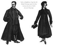 Stalin y Bulgákova. Figurines de Rafael Garrigos para la obra Cartas de amor de Stalin de Juan Mayorga.