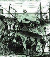 Comercio con América. Grabado de finales del s. XVI.