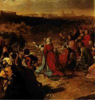 Los Reyes Católicos a la vista de Granada. Cuadro de Ribera en la catedral de Burgos.