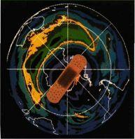 El agujero de ozono en la Antártida representa una grave herida causada por el hombre a la Tierra. La imagen, tomada por un satélite artificial, muestra los contenidos de ozono en distintas tonalidades.