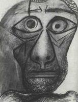 Pablo Picasso, Autorretrato (Cabeza), 1972<br /><br /> lápiz y ceras de color sobre papel, Tokyo,<br /><br /> Fuji Televisión Gallery.