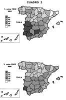 Comparativa de votaciones al PSOE en España por provincias (1993-1996).