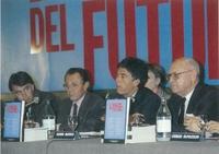 """González, Rocard, Martelli y Napolitano durante el gran """"show""""."""