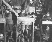El equipo de Scot descansa en lo cabaña de 15 x 7,5m. donde se recluyeron para pasar el invierno austral, antes de comenzar la parte decisiva de la expedición.