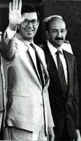 Rafael L. Callejas, con el presidente de México, Carlos Salinas de Gortari.