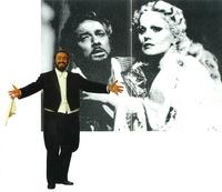 """Plácido """"Otello"""" Domingo con Katia Ricciarelli en el Covent Garden de Londres."""