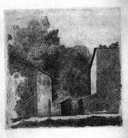 Paisaje (Chiesanuova), 1924.<br /><br /> Este Paisaje (Chiesanuova), forma parte del conjunto de grabados y acuarelas que se expuesieron entre junio y septiembre en el Museo de Arte Contemporaneo Esteban Vicente de Segovia.