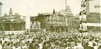 Multitudinario acto en favor del Estatuto de Sau, celebrado en la Plaza de Cataluña, Barcelona (21-10-1979)