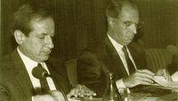 El presidente del Consejo General del Poder Judicial, don Pascual Sala junto al presidente del Congreso.