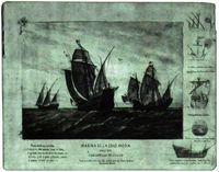 Las carabelas de Colón. (Acuarela que se conserva en el Museo Naval de Madrid).