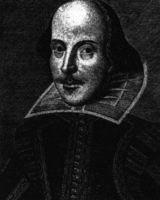 Willian Shakespeare. Grabado de Martín Droeshout publicado por primera vez en la página de portada del First Folio, 1623.