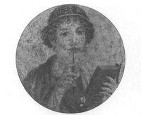 Tondo con retrato de mujer escritora, hallado en Herculano. Museo Nacional de Nápoles.