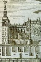 Grabado que representa parte de la catedral.