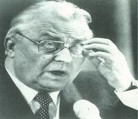 Yegor Ligachov, número dos del Kremlin, durante una de las sesiones donde se discutía la política interna de la URSS.
