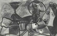 Pablo Picasso, Pareja con copa (1969), óleo sobre lienzo.