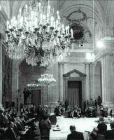 Intervención del jefe de la delegación palestina Haidar Abdelshafi. Palacio Real, Madrid.