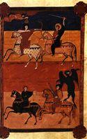 Los cuatro jinetes del Apocalipsis, Beato de Fernando y Sancha, año 1047. Madrid, Biblioteca Nacional.