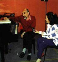 María José Fontán conversa con el maestro Dimitri Bashkirov.