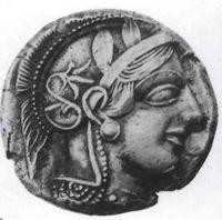 Anverso de tetradracma de plata, (Atenas, ca. 440 a C). Cabeza de Atenea, diosa griega de la sabiduría.
